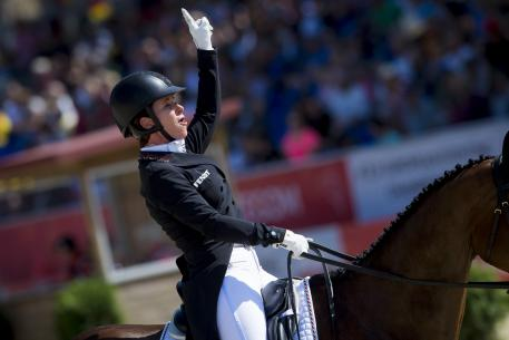 Bettina Hoy (GER) sets a new European Championships record with her dressage mark of 24.6 on Seigneur Medicott to give the defending German team a commanding lead after the first day of competition at the FEI European Eventing Championships in Strzegom (POL)