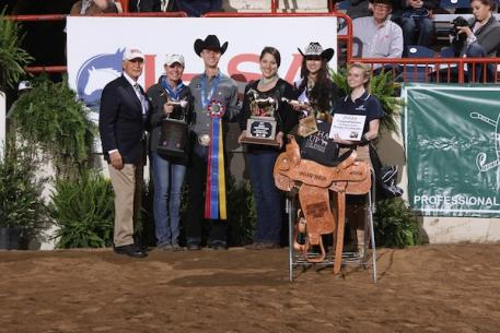 Bob Cacchione, Carla Wennberg, Connor Smith and Cailin Caldwell from AQHA with a local AQHA representative.