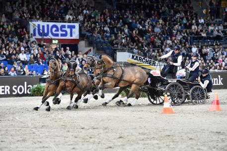 Australia's Boyd Exell picked up where he left off last season when the defending FEI World Cup™ Driving champion cruised to victory with his Four-in-Hand team at the first leg of the 2015/2016 series at Stuttgart, Germany today.