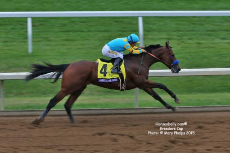 American Pharoah winning the 2015 Breeders Cup