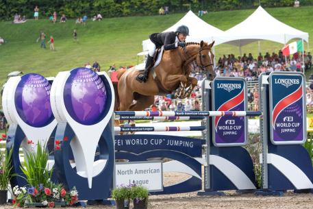 Schuyler Riley (USA) and Dobra de Porceyo, Longines FEI World Cup™ Jumping North American League qualifier at Bromont International