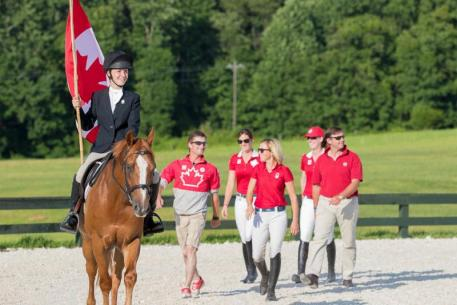 The Canadian Team in the Opening Ceremony  Led by a Member of the Casanova-Warrenton Pony Club