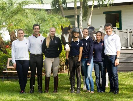 Dr. Cesar Parra (far right) and the Piaffe Performance team prepare for an exciting season at the 2017 Adequan Global Dressage Festival.