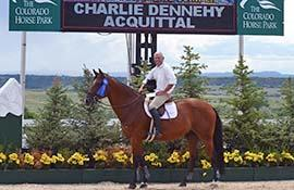 Charlie Dennehy emerged victorious with his mount Acquittal in the Premier Equestrian 1.10m Training Jumper Division at the Colorado Horse Park (Photo: Flying Horse Photography)