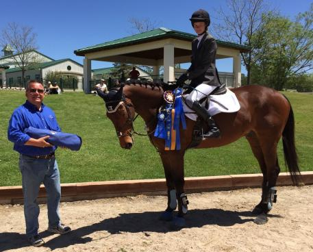 Novice Rider winner, Sophie Wiedenhues on Obie Hayv, with Thomas Willetto