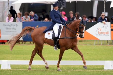 New South Wales rider and trainer, Christine Bates is certainly no outsider and with Adelaide Hill holds third place,after Dressage on Friday.