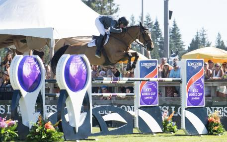 Jamie Barge (USA) Luebbo place third in the Longines FEI World Cup™ Jumping North American League, at Thunderbird Show Park, in Langley B.C. Canada, August 27, 2017.