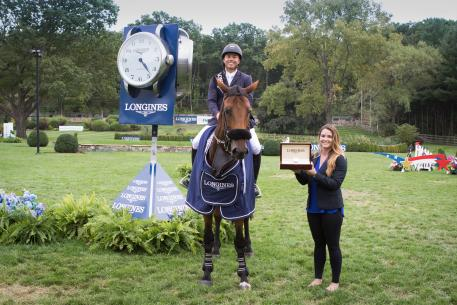 Longines FEI World CupTM Jumping North American league, New York (18 September 2016), Kent Farrington (USA) and Gazelle, winners of the qualifier of this exciting league were presented with a Longines watch by Kristina Hovelos, Events Manager from Longines. Photo RedBayStock.com/FEI
