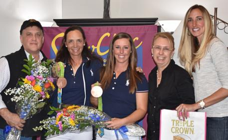 Allison Brock and Kasey Perry-Glass drew a huge crowd to the Triple Crown sponsored Shop Talk at ShowChic Dressage. Pictured from left to right: Triple Crown Florida Representative Craig Bernstein, Olympic rider Allison Brock, Olympic rider Kasey Perry-Glass, ShowChic owner Michele Hundt, and Krystalanne Shingler of ShowChic