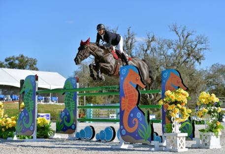 Daniel Bluman and Conconcreto Believe on their way to a $34,600 FEI HITS Jumper Classic win.
