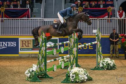 Colombia's Daniel Bluman, pictured here riding Conconcreto Sancha LS, opened the international show jumping division of the Royal Horse Show®  with a win in the $20,000 International Jumper Power and Speed on Tuesday, November 10.