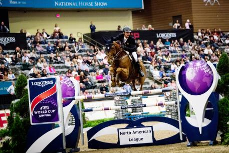 Ireland's Denis Lynch and RMF Echo flying high as they capture a take top class win at the Longines FEI World Cup™ Jumping in Lexington (USA) overnight.