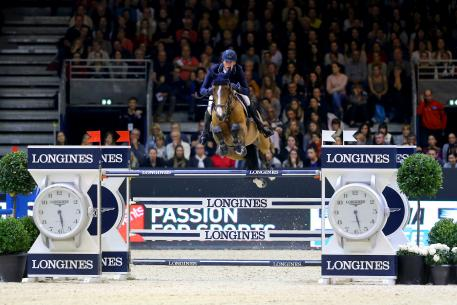 Germany's Daniel Deusser and Equita van T Zorgvliet galloped to victory in the third leg of the Longines FEI World Cup™ Jumping 2016/2017 Western European League at Lyon, France today. (Pierre Costabadie/FEI)