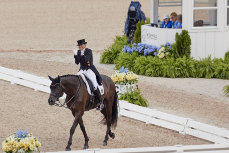 Germany's Dorothee Schneider and Sammy Davis Jr. (Photo: FEI/Liz Gregg)