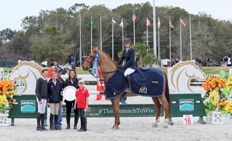 Dorothy Douglas and S&L Elite winning the $50,000 Equioxx Grand Prix
