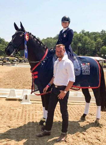 Endel Ots and student Bebe Davis, who won the individual gold medal at the Adequan/FEI North American Junior & Young Rider Dressage Championships (NAJRYC) this year in Saugerties, New York