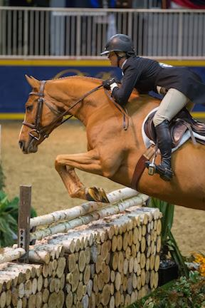 Erynn Ballard of Tottenham, ON, and Valentino Now, owned by MVB Group, won the 5,000 Braeburn Farms Hunter Derby at the 2015 Royal Horse Show®