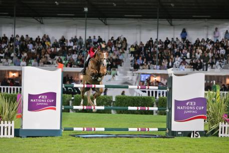 Fabienne Daigneux Lange and Venue d'Fees des Hazelles jumped double-clear to help secure a spectacular victory for Belgium in the FEI Nations Cup™ Jumping 2017 Europe Division 2 leg in Lisbon, Portugal.