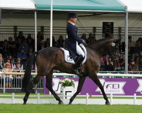 Michael Jung (GER) makes his debut in style at the Land Rover Burghley Horse Trials, sixth and final leg of the FEI Classics™ 2014/201, by taking the lead after the first day of Dressage on FischerRocana FST. (Photo: Trevor Meeks/FEI)
