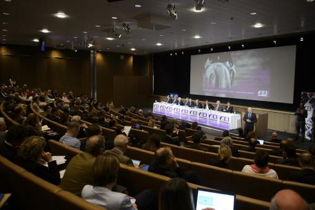 A record number of delegates attended the FEI Sports Forum at IMD in Lausanne (SUI), where Olympic and FEI World Equestrian Games™ competition changes were debated at length today. (FEI/Richard Juilliart)