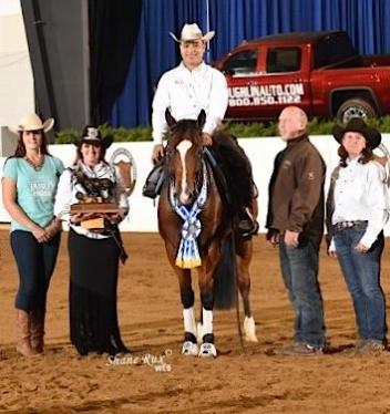 2017 USA Para Reining National Champion Fred Win scored to win riding Smokin Lil Mercedez with coach Dean Brown and USA Para Reining Chair Jennifer Hoyt.