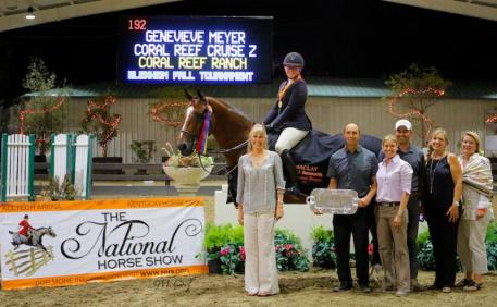 Genevieve Meyer pictured with her mother Gwendolyn, trainers Vinton & Ann Karrasch,  groom Armando, Melissa Brandes of Blenheim EquiSports and Laura Rombauer,  CP National Horse Show representative