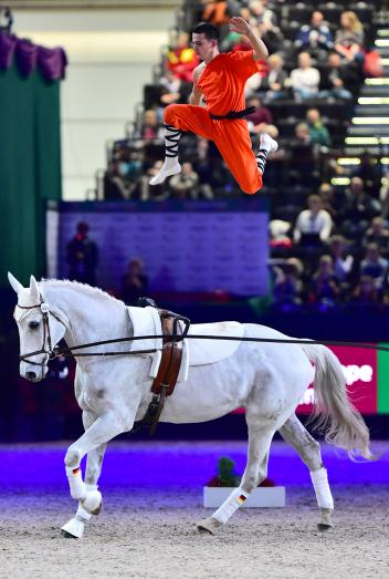 Germany's Jannis Drewell, the reigning European Male Individual champion, has been thrilling audiences throughout the FEI World Cup™ Vaulting 2015/2016 qualifying rounds and has his eyes firmly set on the 2016 title at the Final on home soil in Dortmund. (FEI/Daniel Kaiser)