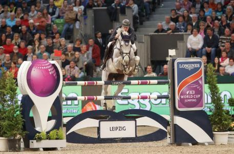 European individual silver medallist, Gregory Wathelet from Belgium, steered the lovely grey mare, Coree, to victory at the tenth leg of the Longines FEI World Cup™ Jumping 2016/2017 Western European League in Leipzig, Germany today.