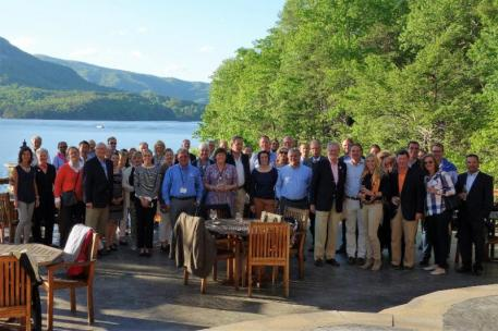 Chefs de Mission, FEI Discipline Directors, and members of the Organizing Committee enjoy an evening at the Lodge on Lake Lure in Lake Lure, NC.