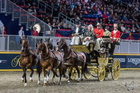 Mr. and Mrs. Harvey Waller of Stockbridge, MA, won the Green Meadows Four-In-Hand Coaching Appointments class for the second year in a row on Friday, November 10, at the Royal Horse Show in Toronto, ON.