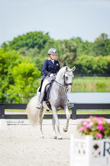 Heather Bender and Zairo Interagro canter down centerline ready for success during the Gold Coast Dressage Summer Solstice Show. (Photo courtesy of Joanna Jodko)