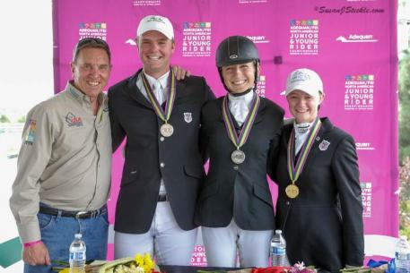 Jackson Gillespie, Vanessa Creech-Terauds, and Jenna Upchurch after their medal presentation ceremony with Allyn Mann of Adequan®.