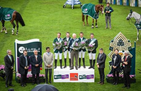 Team Ireland's Denis Lynch, Greg Broderick, Robert Splaine (Chef d'Equipe), Bertram Allen and Cian O'Connor.