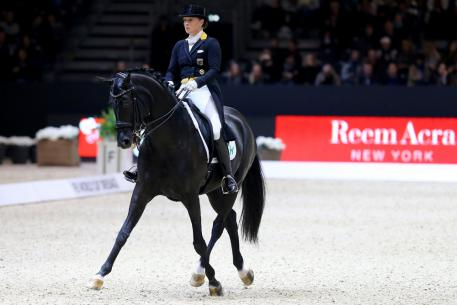 Germany's Isabell Werth produced a personal-best Freestyle score to win today's second leg of the FEI World Cup™ Dressage 2016/2017 Western European League riding Weihegold at Lyon, France. (Pierre Costabadie/FEI).