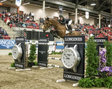 Isabelle Lapierre with her horse Cescha M takes a second win for the season in Calgary on Saturday 28 October at the Longines FEI World Cup™ Jumping North American League.