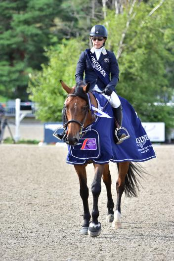 Canadian Isabelle Lapierre rides Cescha M to victory at the Longines FEI World Cupª Jumping qualifier in Bromont (CAN)