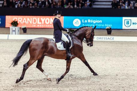 Reigning champion, Germany's Isabell Werth, produced a breath-taking performance from Emilio to win the second leg of the FEI World Cup™ Dressage 2017/2018 Western European League at Lyon, France this evening. (FEI/Christophe Tanière)