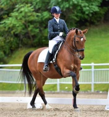 Janine Little and the KWPN mare Demitra, an up-and-coming talent who earned the Third Level Championship at Bromont Olympic Equestrian Park. Demitra went on to demonstrate exciting potential at the mare's first time at Dressage at Devon and shows talent for the top levels of the sport.