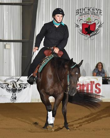 Jennifer Flanagan on her Chromed Out Swagwagon, double high scorers at the Buckeye's 2018 Coughlin Automotive Open Futurity Show