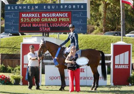 Juan Manuel Luzardo and Stan celebrate the win with groom Jesus Eduardo Aceves and Melissa Brandes of Blenheim EquiSports