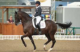 Top-scoring American rider Katherine Bateson-Chandler and Alcazar took on prestigious competition in the Hickstead CDIO 3* at the Nations Cup Grand Prix (Photo courtesy of Risto Aaltonen)