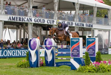 The United States' Olympic medallist Kent Farrington and Gazelle claim the win in the $216,000 Longines FEI World Cup™ Jumping New York. (FEI/Anthony Trollop)