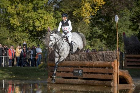Germany's Ingrid Klimke steered the Holsteiner mare Weisse Duene to win the Seven-Year-Old title at the FEI World Breeding Eventing Championships for Young Horses 2016 at Le Lion d'Angers, France