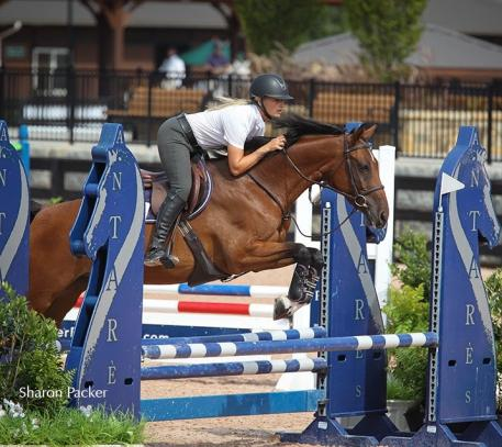 Kristen VanderVeen, owner of Bull Run Jumpers Inc., with Beeba in the Premier Equestrian 0.80m Low Jumper Division at Tryon International Equestrian Center (Photo courtesy of Sharon Packer)