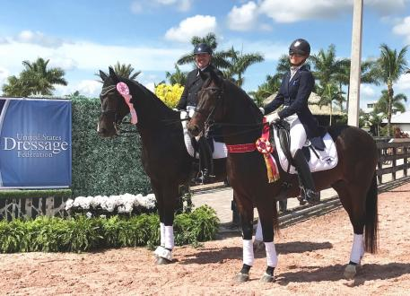 Kristy Lund (right) and her trainer Olympian Bent Jensen (left) at the USDF Region 3 Dressage Championships.