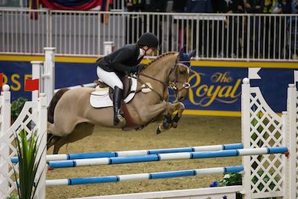 In front of a hometown crowd, Laura Robertson of Toronto,ON, claimed the $5,000 Royal PonyJumper Final, presented by William Tilford and Marion Cunningham of Marbill Hill Farm on Sunday, November 15, at the Royal Horse Show®.