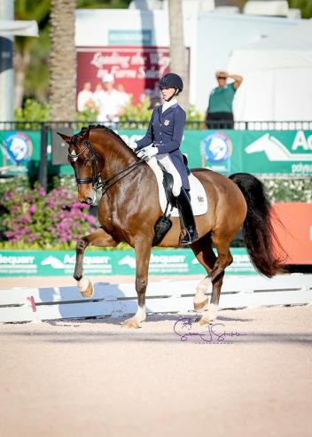 Laura Graves is 0.5% shy of the 80% marker on Verdades in the Grand Prix CDI5*. (Photo: Susan J Stickle)