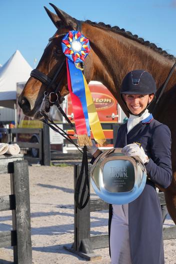 Laura Graves and Verdades receive the Triple Crown Nutrition Dressage Excellence Award during week five of the Adequan Global Dressage Festival