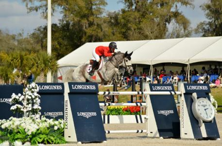 Lauren Hough and Cornet of Team U.S.A in the Furusiyya FEI Nations Cup CSIO4*, presented by Edge Brewing Barcelona at HITS Post Time Farm in Ocala, Florida.