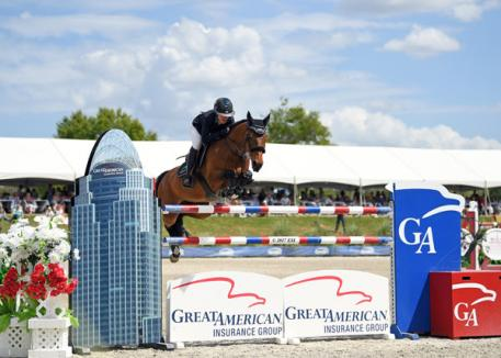 Lauren Hough and Ohlala on their way to a Great American  Million Grand Prix win.